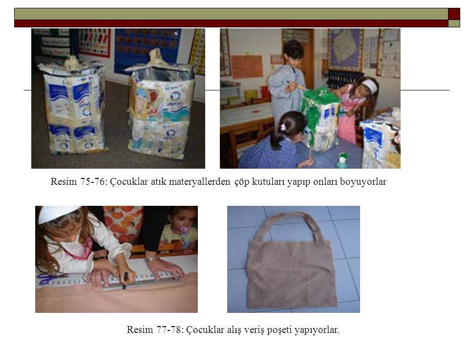 Resim 75-76: Çocuklar atık materyallerden çöp kutuları yapıp onları boyuyorlar