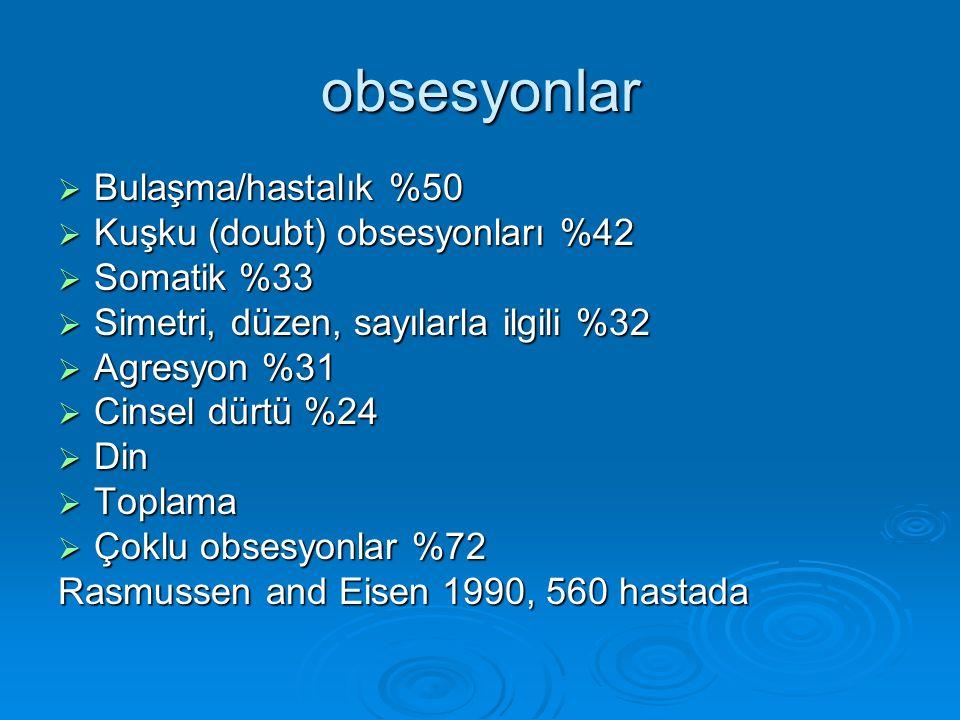 obsesyonlar Bulaşma/hastalık %50 Kuşku (doubt) obsesyonları %42