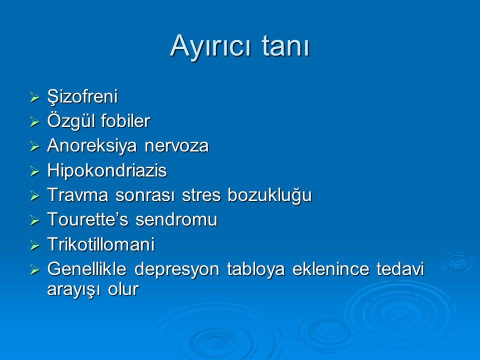 Ayırıcı tanı Şizofreni Özgül fobiler Anoreksiya nervoza Hipokondriazis