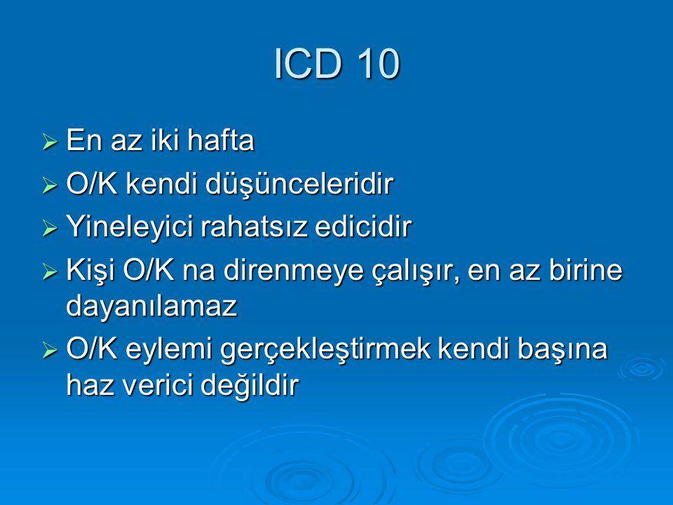ICD 10 En az iki hafta O/K kendi düşünceleridir