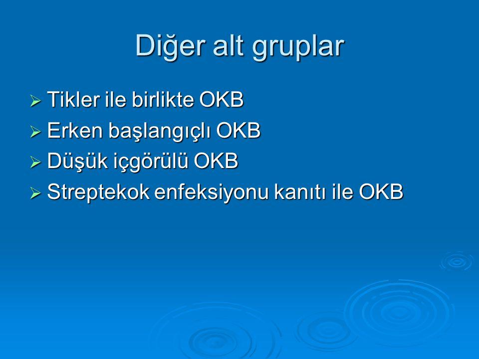 Diğer alt gruplar Tikler ile birlikte OKB Erken başlangıçlı OKB
