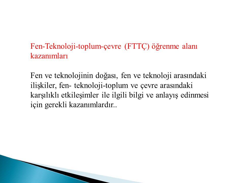 Fen-Teknoloji-toplum-çevre (FTTÇ) öğrenme alanı kazanımları