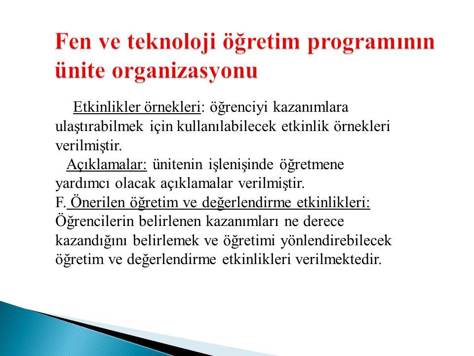 Fen ve teknoloji öğretim programının ünite organizasyonu