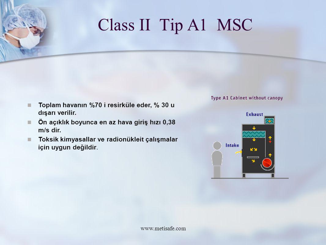 Class II Tip A1 MSC Toplam havanın %70 i resirküle eder, % 30 u dışarı verilir. Ön açıklık boyunca en az hava giriş hızı 0,38 m/s dir.