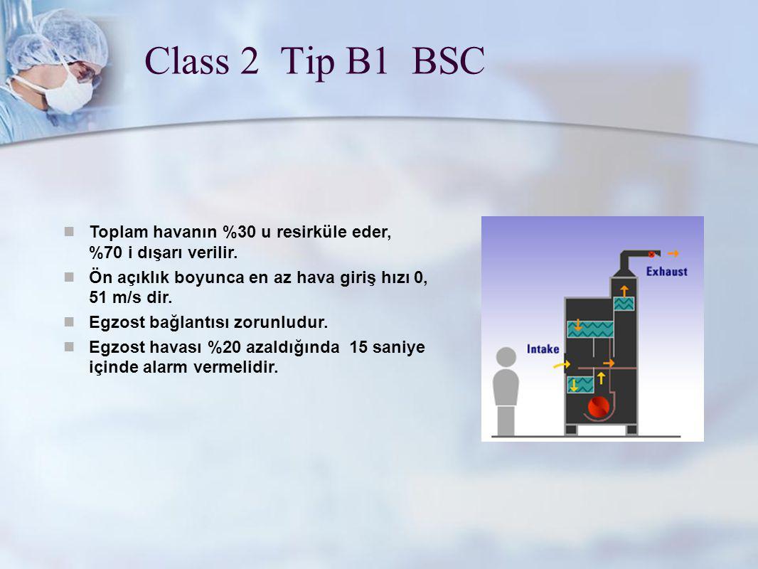 Class 2 Tip B1 BSC Toplam havanın %30 u resirküle eder, %70 i dışarı verilir. Ön açıklık boyunca en az hava giriş hızı 0, 51 m/s dir.