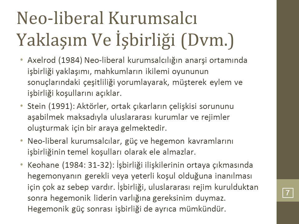 Neo-liberal Kurumsalcı Yaklaşım Ve İşbirliği (Dvm.)