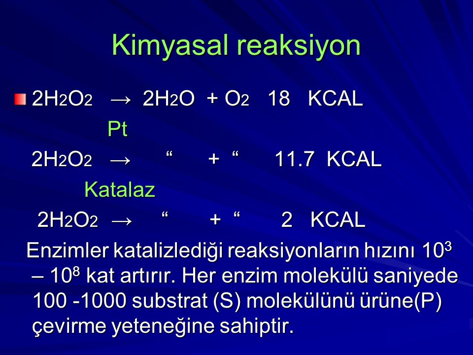 Kimyasal reaksiyon 2H2O2 → 2H2O + O2 18 KCAL Pt
