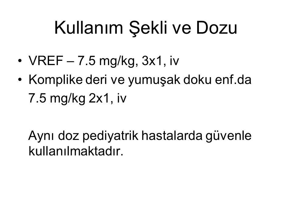 Kullanım Şekli ve Dozu VREF – 7.5 mg/kg, 3x1, iv