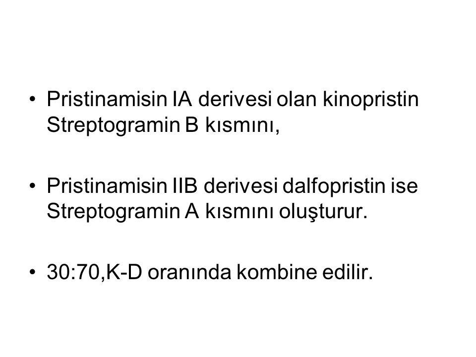 Pristinamisin IA derivesi olan kinopristin Streptogramin B kısmını,