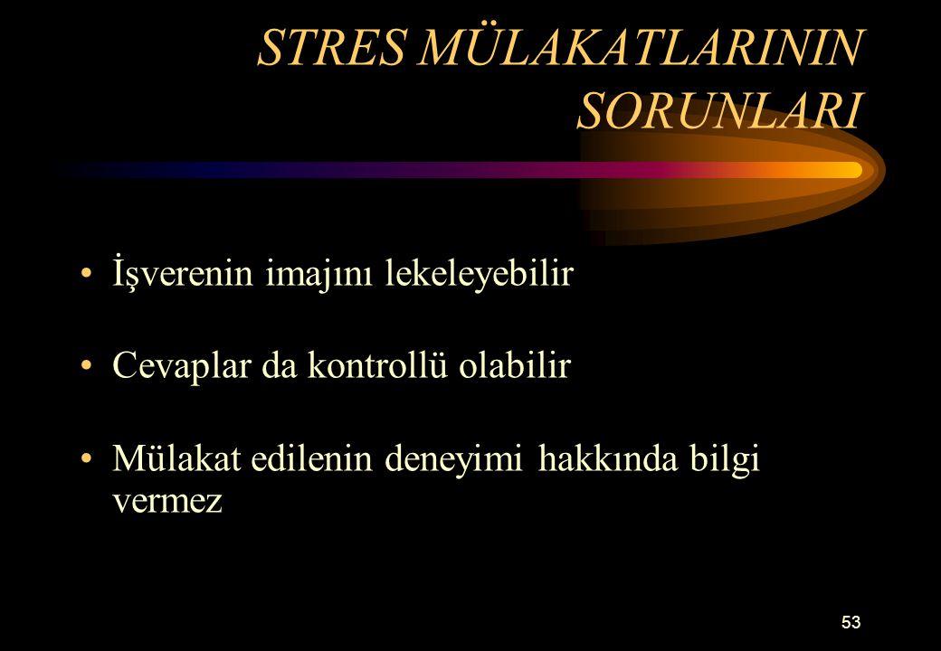 STRES MÜLAKATLARININ SORUNLARI
