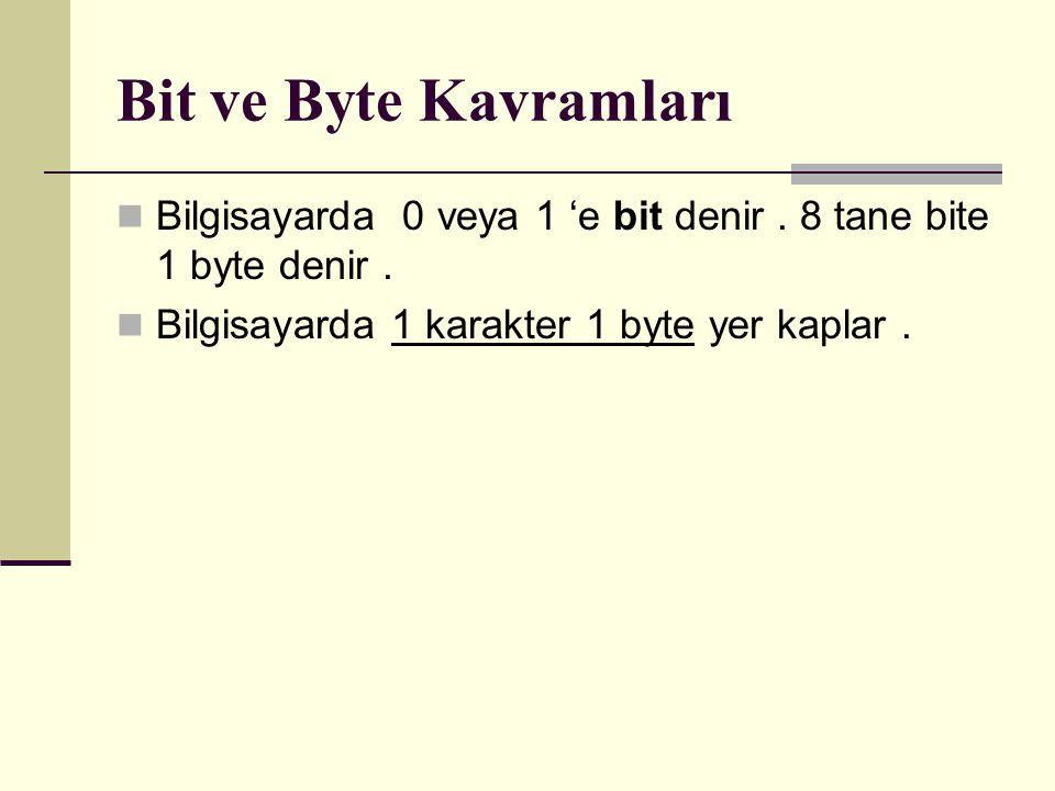 Bit ve Byte Kavramları Bilgisayarda 0 veya 1 'e bit denir .