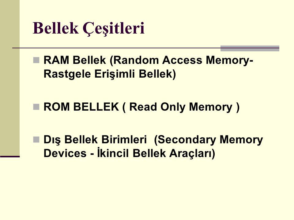 Bellek Çeşitleri RAM Bellek (Random Access Memory- Rastgele Erişimli Bellek) ROM BELLEK ( Read Only Memory )