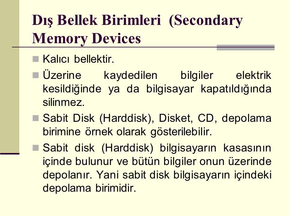 Dış Bellek Birimleri (Secondary Memory Devices