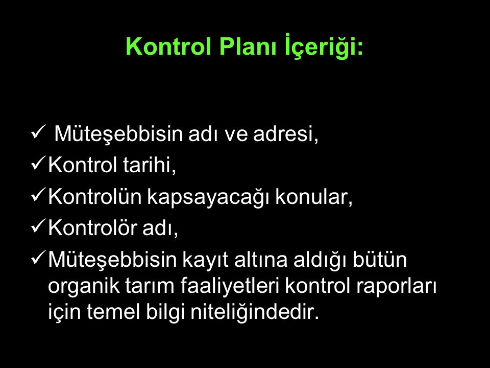 Kontrol Planı İçeriği: