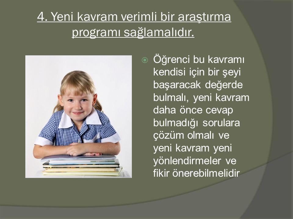 4. Yeni kavram verimli bir araştırma programı sağlamalıdır.