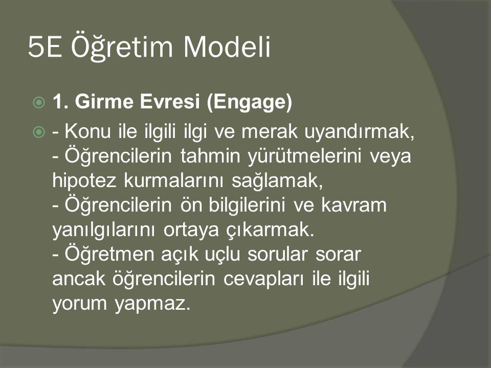 5E Öğretim Modeli 1. Girme Evresi (Engage)