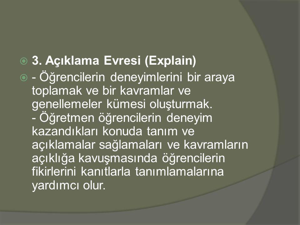 3. Açıklama Evresi (Explain)