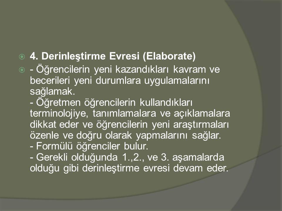 4. Derinleştirme Evresi (Elaborate)