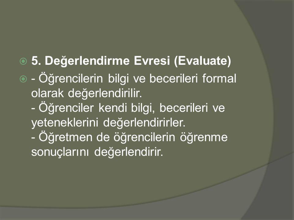 5. Değerlendirme Evresi (Evaluate)