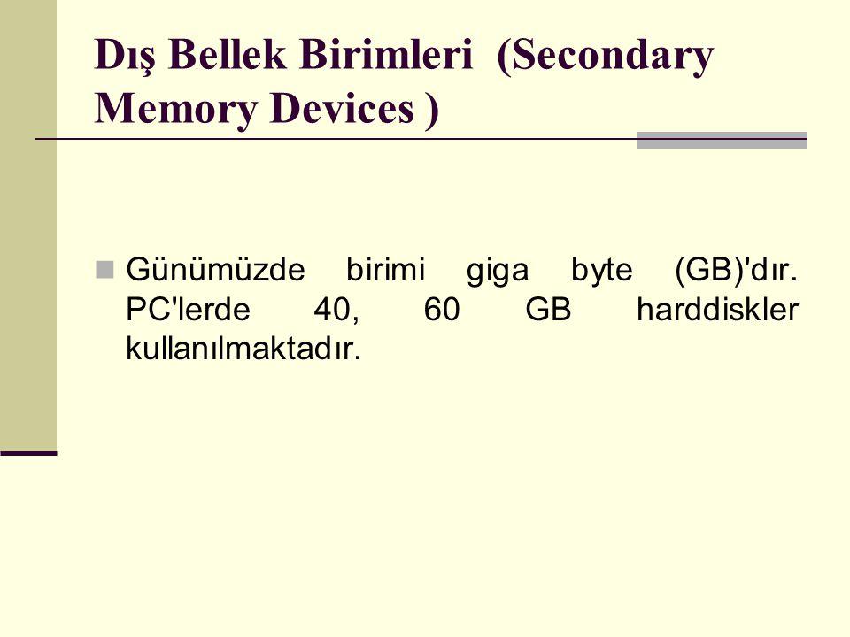 Dış Bellek Birimleri (Secondary Memory Devices )