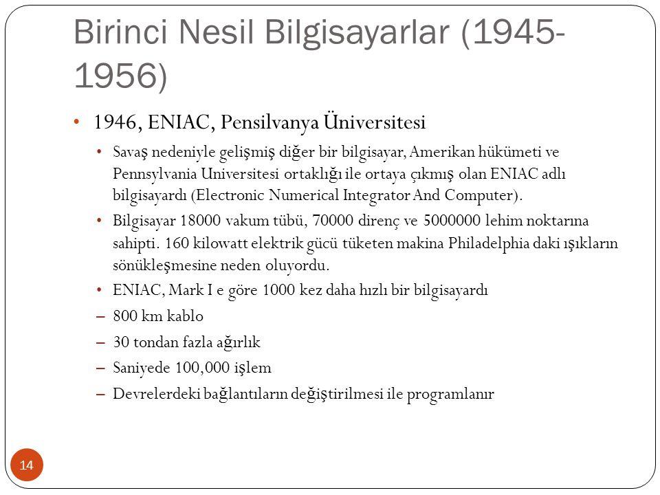 Birinci Nesil Bilgisayarlar (1945-1956)