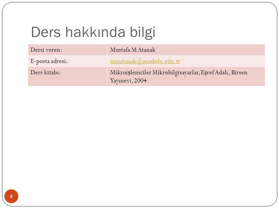 Ders hakkında bilgi Dersi veren: Mustafa M Atanak E-posta adresi: