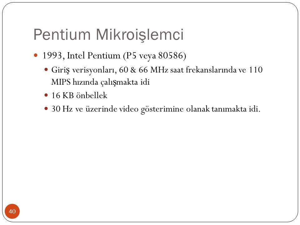 Pentium Mikroişlemci 1993, Intel Pentium (P5 veya 80586)