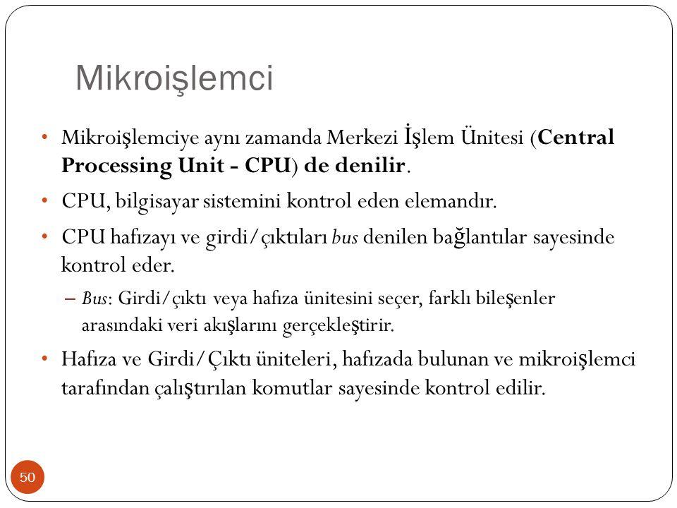 Mikroişlemci Mikroişlemciye aynı zamanda Merkezi İşlem Ünitesi (Central Processing Unit - CPU) de denilir.