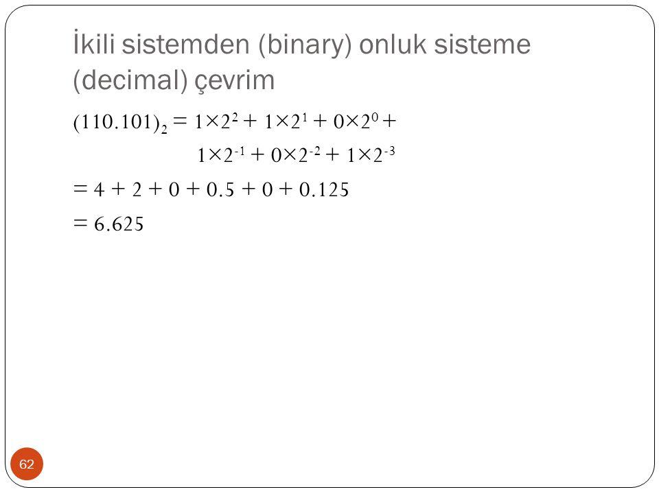 İkili sistemden (binary) onluk sisteme (decimal) çevrim