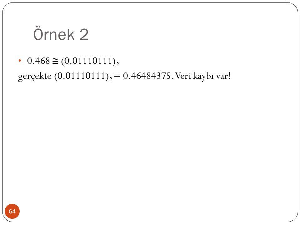 Örnek 2 0.468  (0.01110111)2 gerçekte (0.01110111)2 = 0.46484375. Veri kaybı var!