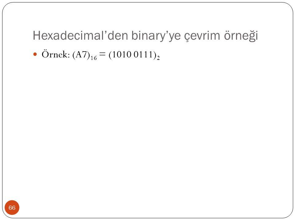 Hexadecimal'den binary'ye çevrim örneği