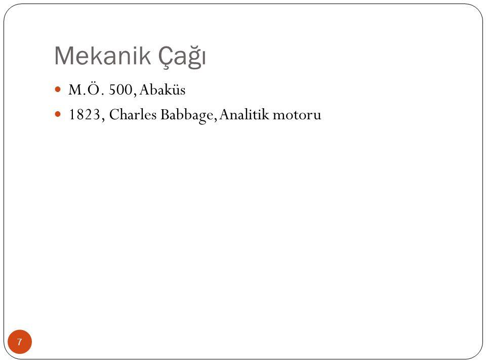 Mekanik Çağı M.Ö. 500, Abaküs 1823, Charles Babbage, Analitik motoru