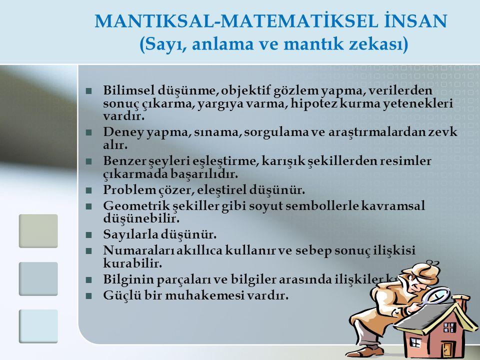 MANTIKSAL-MATEMATİKSEL İNSAN (Sayı, anlama ve mantık zekası)