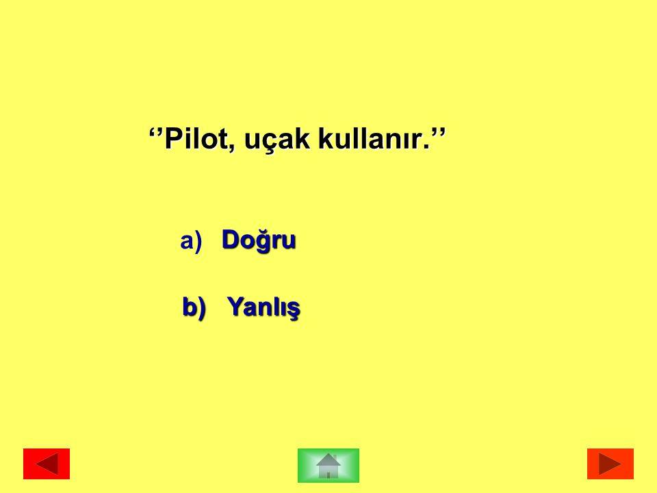 ''Pilot, uçak kullanır.''