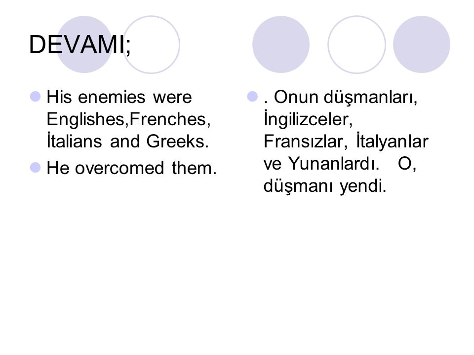 DEVAMI; His enemies were Englishes,Frenches, İtalians and Greeks.