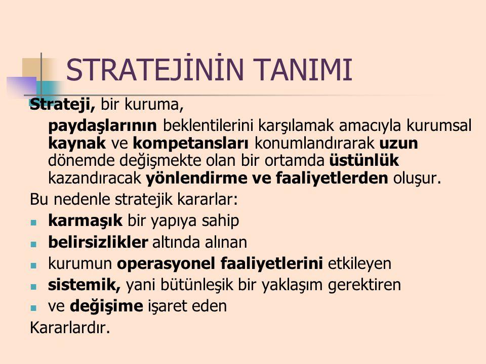STRATEJİNİN TANIMI Strateji, bir kuruma,