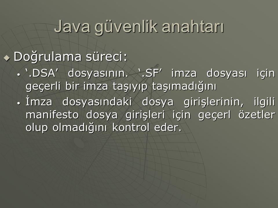 Java güvenlik anahtarı