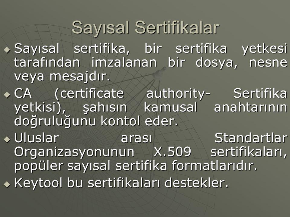 Sayısal Sertifikalar Sayısal sertifika, bir sertifika yetkesi tarafından imzalanan bir dosya, nesne veya mesajdır.