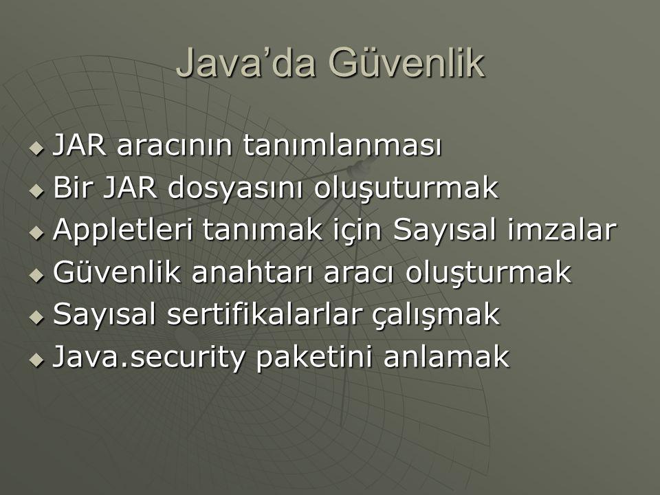 Java'da Güvenlik JAR aracının tanımlanması