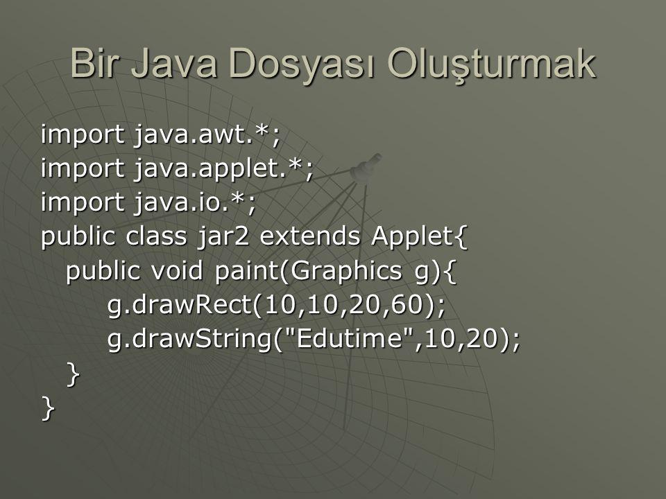 Bir Java Dosyası Oluşturmak