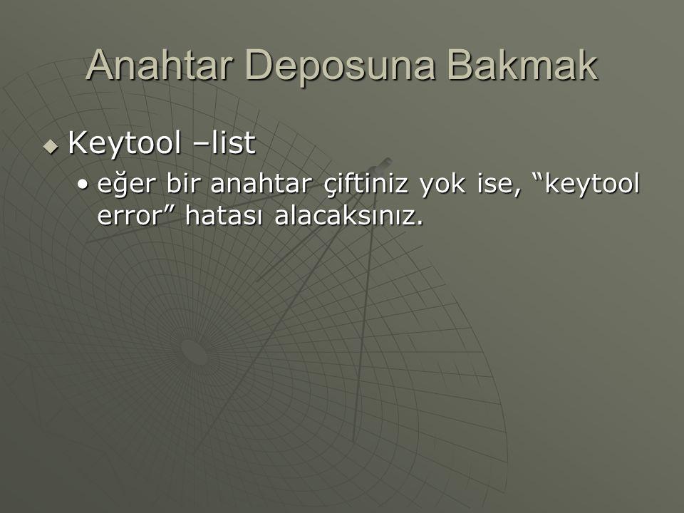 Anahtar Deposuna Bakmak