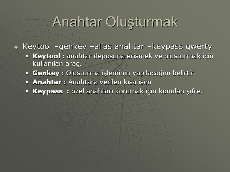 Anahtar Oluşturmak Keytool –genkey –alias anahtar –keypass qwerty