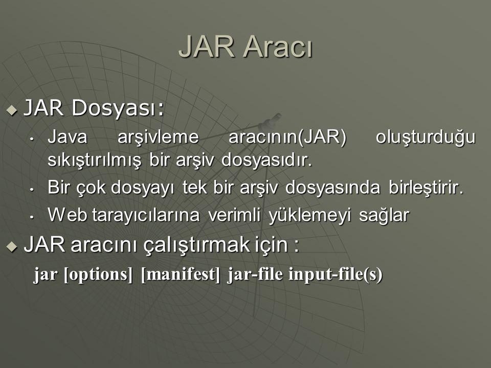 JAR Aracı JAR Dosyası: JAR aracını çalıştırmak için :