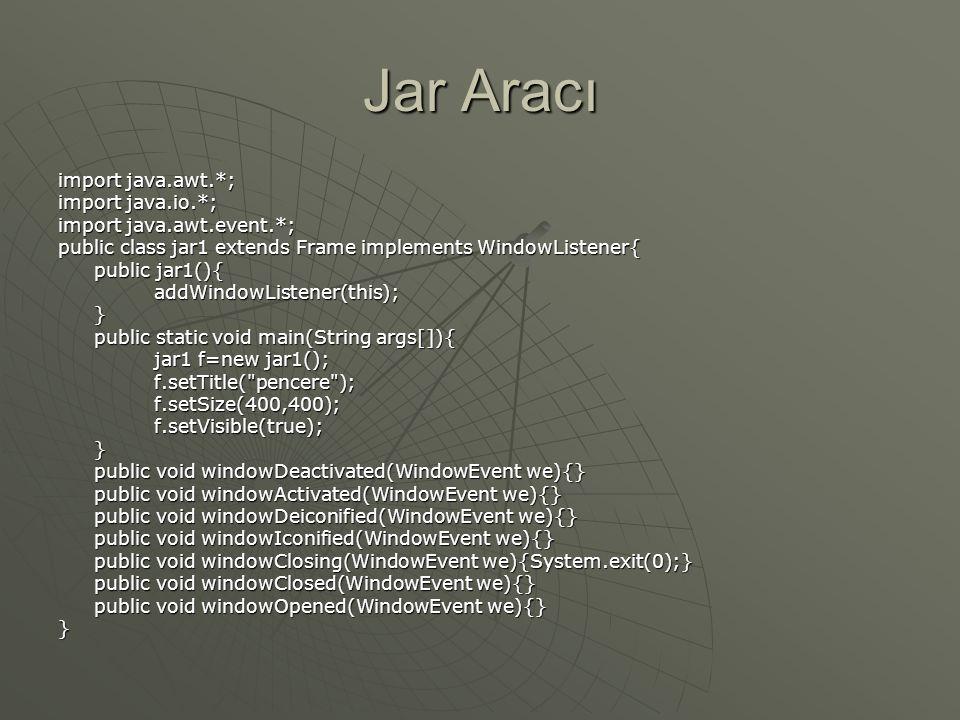 Jar Aracı import java.awt.*; import java.io.*;