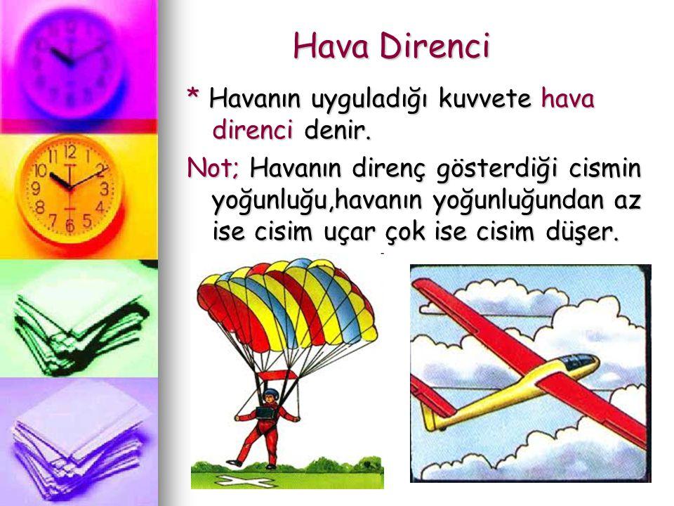 Hava Direnci * Havanın uyguladığı kuvvete hava direnci denir.