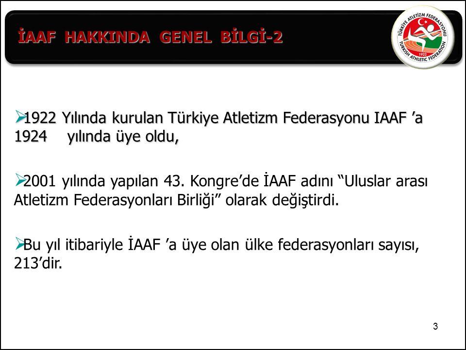 İAAF HAKKINDA GENEL BİLGİ-2