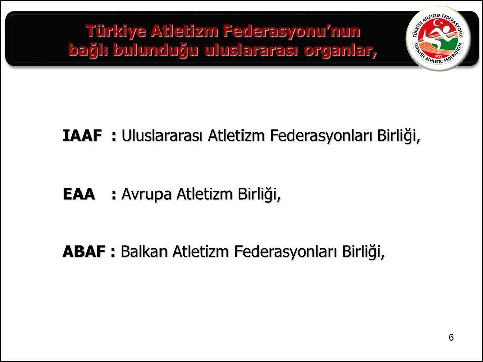 IAAF : Uluslararası Atletizm Federasyonları Birliği,