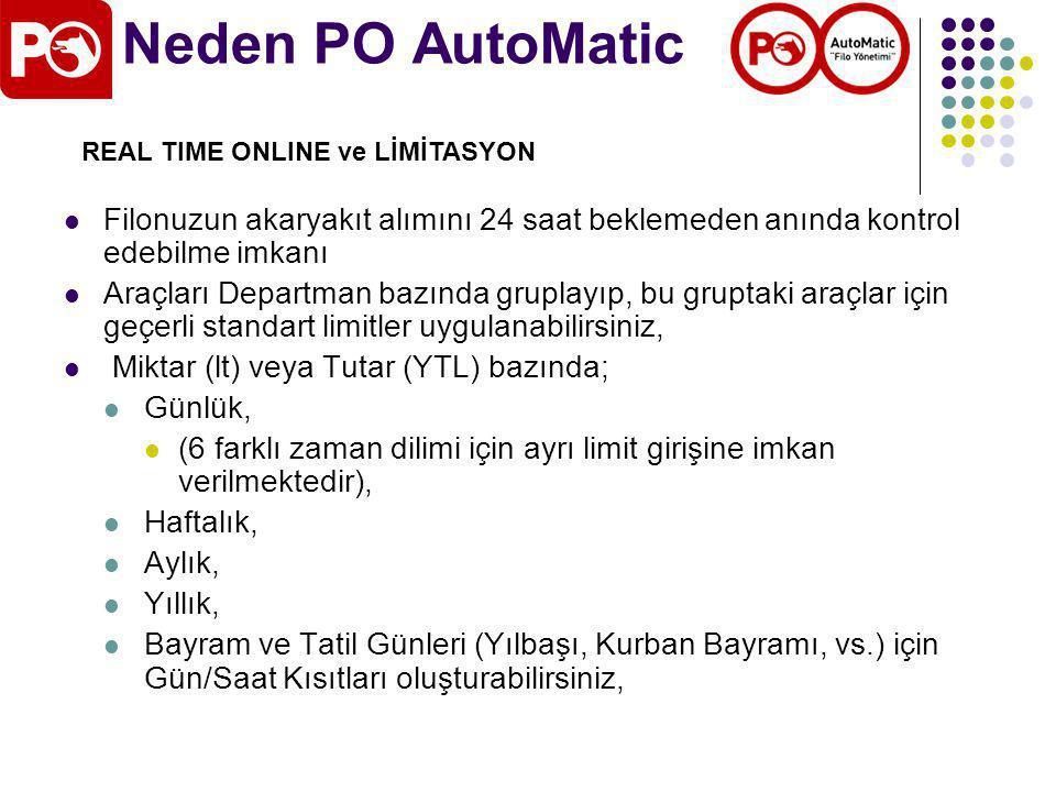 Neden PO AutoMatic REAL TIME ONLINE ve LİMİTASYON. Filonuzun akaryakıt alımını 24 saat beklemeden anında kontrol edebilme imkanı.