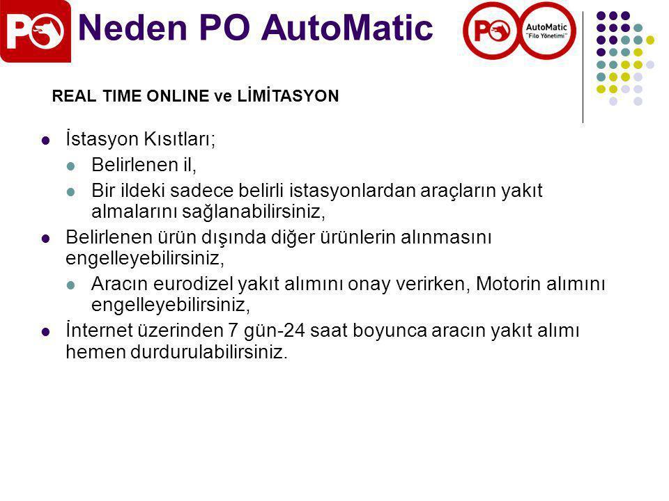 Neden PO AutoMatic İstasyon Kısıtları; Belirlenen il,