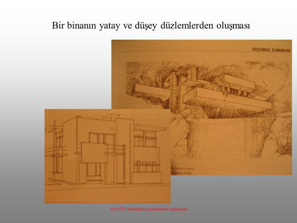 Bir binanın yatay ve düşey düzlemlerden oluşması